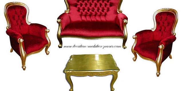 126 events - location fauteuil et banquette baroque pack-2 fauteuils baroques + 1 banquette baroque + 1 table basse dorée 53640