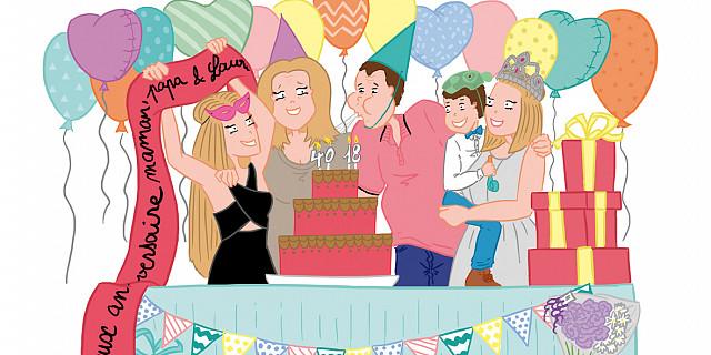 Claire Gosnon - Illustration d'une fête d'anniversaire familiale 68120