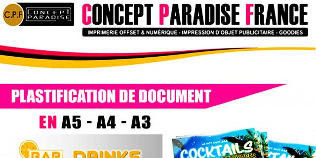Concept Paradise France - PLASTIFICATION DE DOCUMENT 73533
