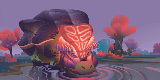 Florian Garbay - illustration animalière paysage science fiction - Bufalon paisible boit 83724