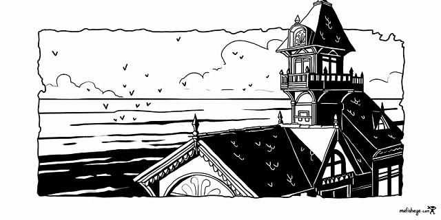 Florian Garbay - illustration noir et blanc, intérieur de livre, tête de chapitre - Maison sur la cote 83732