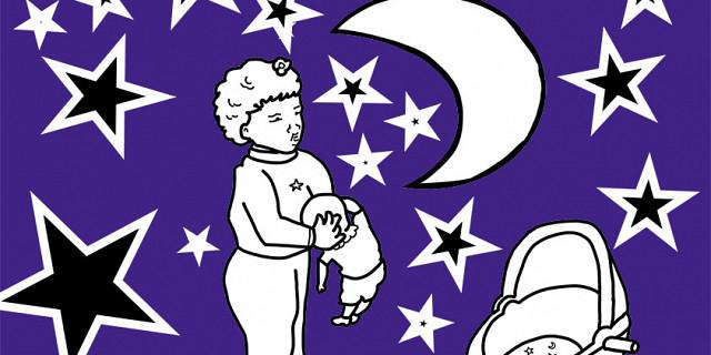 Hassiba Kessaci - berceau enfant image à colorier nuit lune étoiles 80430