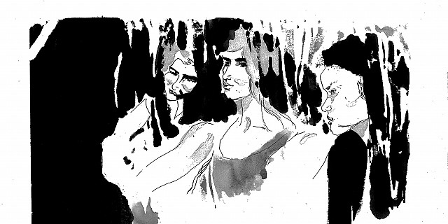 Hassiba Kessaci - illustration de mode estampe encre de Chine 83528