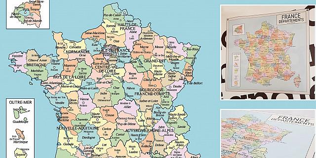 Sylvie Santelli - Illustration vectorielle carte de France vintage 79337