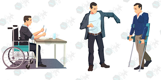 Vafgraphic - illustration flat design personnage handicap 82802